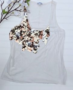 Express Cream Sequined Tank